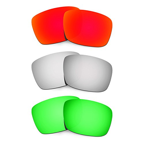 Hkuco Plus Mens Replacement Lenses For Oakley Fuel Cell Red/Titanium/Emerald Green Sunglasses