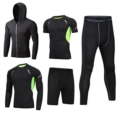 Dooxi Mens 5pcs Sports Gym Fitness Clothing Set Hoodies Jackets+Long Sleeve+Short Sleeve Base Layers T Shirts+Loose…