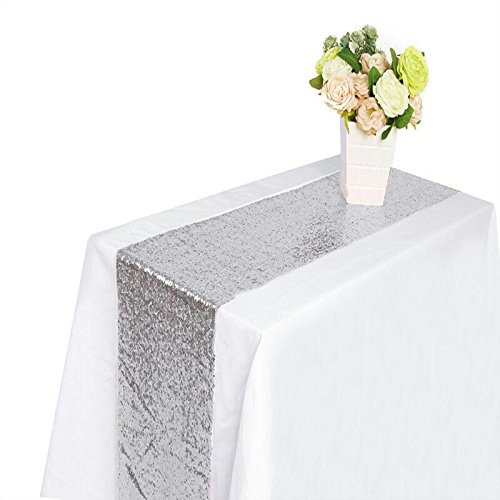PREMIUM QUALITY - Sequin Table Runner, 12 by 108-Inch, Ideal for Birthday Decorations, Engagement Party, Weddings, Graduation Party - Blog Warehouse Craft