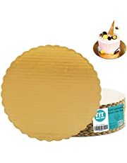 [20 Pack] 10 Inches Round Cake Boards - Cardboard Disposable Cake Pizza Circle Scalloped Gold Tart Decorating Base Stand