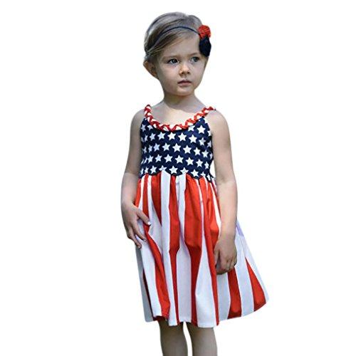 4th Of July Star Dress - Franterd Strap Dress for Little Girl Toddler Kids Summer American Flag Star Beach Pageant Dresses (3T, Red) -