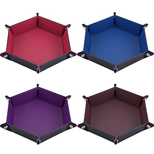 (SIQUK 4 Pieces Dice Tray Folding Hexagon Dice Trays PU Leather Holder for Dice Games, 4 Dark Colors)
