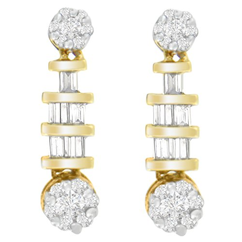 14K Yellow Gold Round and Baguette-cut Diamond Earrings (3/4 cttw, H-I Color, SI1-SI2 Clarity)