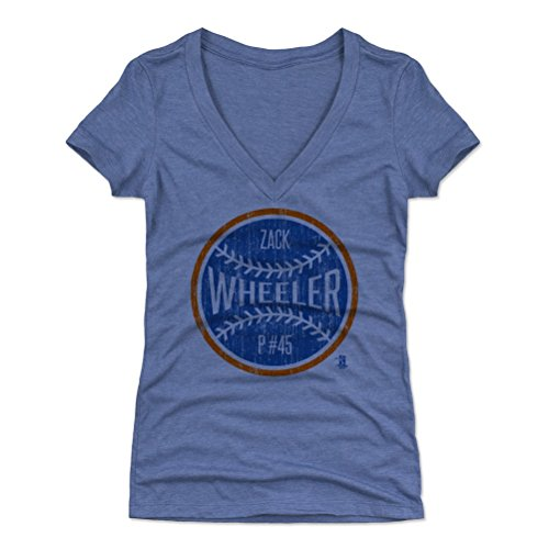 Zack Wheeler Women's V-Neck Shirt X-Large Tri Royal - New York Baseball Women's Apparel - Zack Wheeler New York Ball B