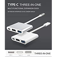 HDMI 4K Adapter USB C (Type C) to HDMI 4K with USB 3.0 Port and USB C Charging Port Compatible with MacBook iPad Pro Chromebook Pixel Dell XPS13 Samsung Galaxy s8 s8 Plus (Silvery)