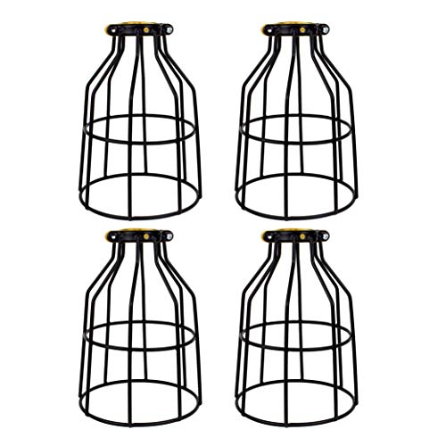 (Newhouse Lighting Metal Lamp Guard for Pendant String Lights and Vintage Lamp Holders, Industrial Wire Iron Bird Cage, 4-Pack)