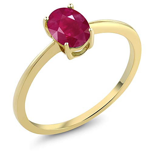 Gem Stone King 1.02 Ct Oval Red Ruby 10K Yellow Gold Solitaire Engagement Ring (Size 9)