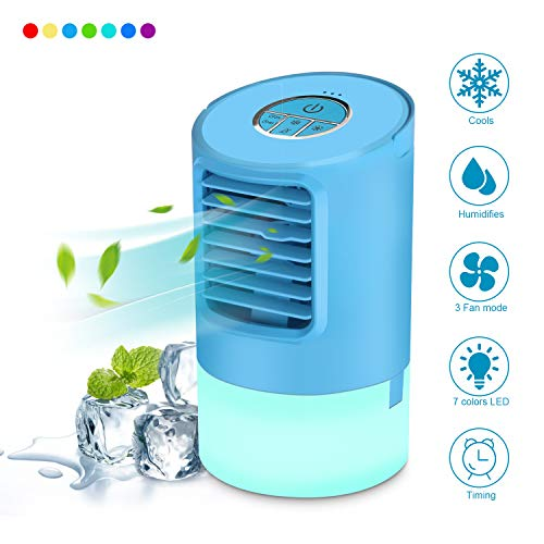 (Frebw Personal Air Conditioner, 4 in 1 Personal Space Air Cooler, Humidifier, 7 Colors Night Light, Desktop Cooling Fan with 3 Speeds for Home Room Office)