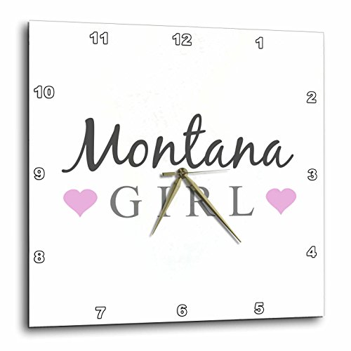 3dRose Montana Girl – Home State Pride – USA – United States of America – Text and Cute Girly Pink Hearts – Wall Clock, 10 by 10-Inch (dpp_161858_1) For Sale