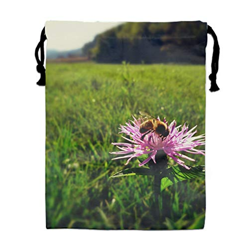 - Nature Animals Bees Flowers Thistles Drawstring Backpack Bags Goody Bags Party Favor Bags Supplies for Boys and Girls