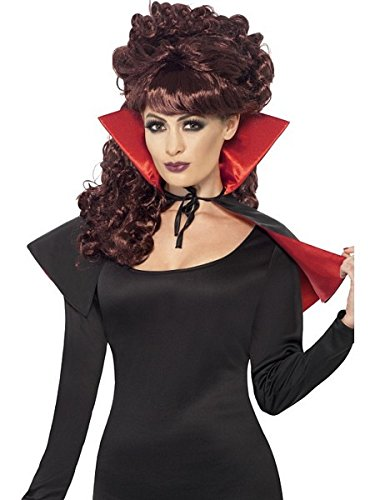 Smiffy's Women's Mini Vamp Cape, Black & Red, Short, One Size, 23198