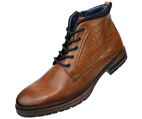 - Asher Green Dress Shoes Lace Up Boots for Men | Camel 215 | Distinctive Reptile Pattern Leather Ankle Boots for Men | Handcrafted in Portugal with Genuine Leather | AG6203