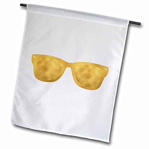 3dRose PS Glam - Image of Gold Glam Sun Glasses - 12 x 18 inch Garden Flag - Sunglasses Covering Glasses
