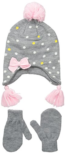 Nolan Gloves Big Girls' Sunday Knit Polka Dot Set, Grey, 2-4T
