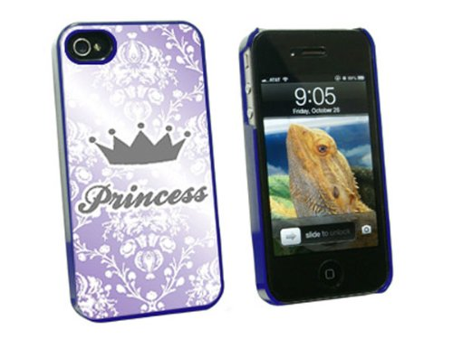 Graphics and More Princess Crown Purple Damask Spoiled Snap-On Hard Protective Case for Apple iPhone 4/4S - Non-Retail Packaging - Blue