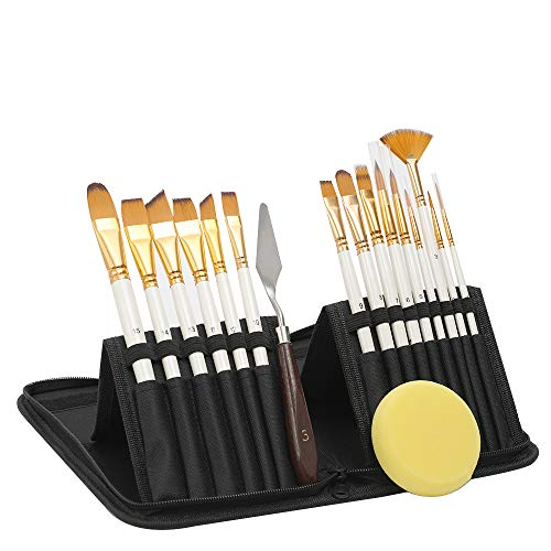 Acrylic Paint Brush Set -15 PC Art Paint Brushes - Free Painting Knife & Watercolor Sponge and Pop-up Carrying Case for Acrylic, Oil, Watercolor and Gouache Painting