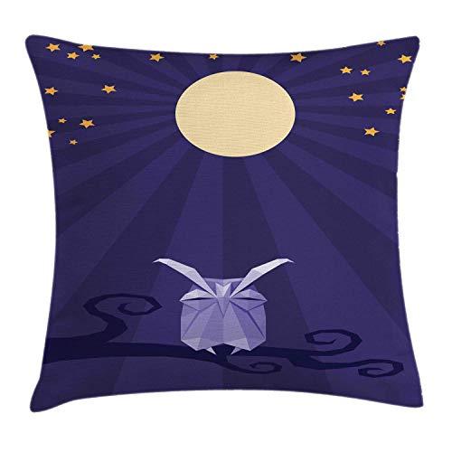 NBTJZT Owl Print Throw Pillow Cushion Cover, Origami Bird at Night with Stars and Full Moon,Pillowcase 18X18 Inch, Dark Indigo Beige Ceil Blue and Pale -