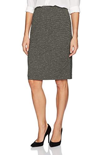 Kasper Women's Metallic Knit Slim Skirt, Ivory/Black 8