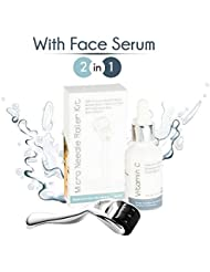 0.25mm Derma Roller Microneedle Kit with Face Serum – Set With Micro Needle Dermaroller + Vitamin C with Hyaluronic Acid Facial Serum – Helps Your Skin Glow and Radiate Youthfully + FREE E-Book Guide