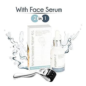 0 25mm Derma Roller Microneedle Kit with Face Serum – Set With Micro Needle  Dermaroller + Vitamin C with