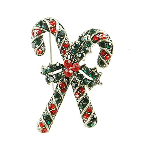 (JczR.Y Christmas Crutch Brooch Red Green Rhinestone Crystal Cross Crutch Bow Knot Brooch for Women Party Banquet Boutonniere Pins (Silver))