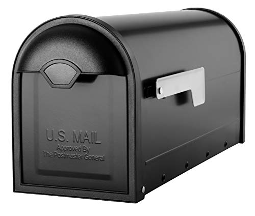 Architectural Mailboxes 8830B-10 Winston Nickel Flag Post Mount Mailbox, Medium, Black