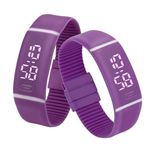 - Bolayu Mens Womens Rubber Sports Bracelet LED Digital Wrist Watch (Purple)