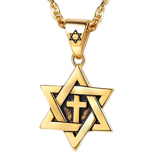 PROSTEEL Magen Star of David Necklace Gold Plated Pendant & Chain Men Women Bat Mitzvah Gift Jewish Israel Judaica Hebrew Jewelry Hanukkah Cross