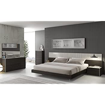 J&M Furniture Porto Light Grey Lacquer With Wenge Veneer Queen Size Bedroom Set