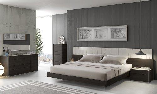 J&M Furniture Porto Light Grey Lacquer With Wenge Veneer Bedroom Set - Queen Size