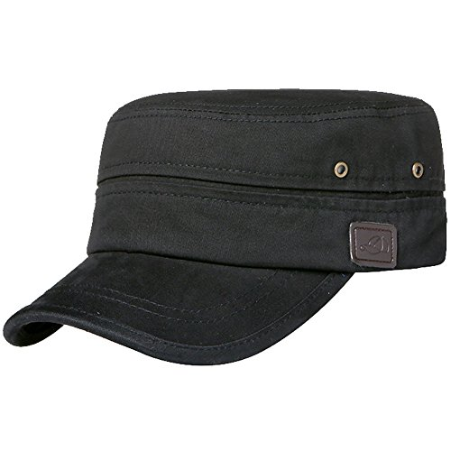 Mens Cotton Flat Top Peaked Baseball Twill Army Millitary Corps Hat Cap Visor