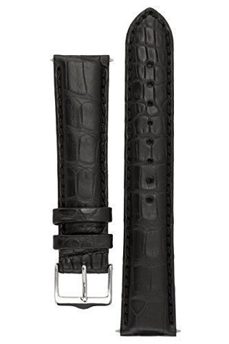 signature-dundee-in-black-22-mm-watch-band-replacement-watch-strap-genuine-alligator-leather-silver-