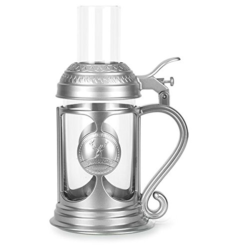 Barbuzzo Auto-Bomb Beer Stein - Pour Your Favorite Beer in the Glass and Liquor in the Shot and Push the Button to Drop the Shot - Great for Sake-Bombs, Irish-Car Bombs, Oktoberfest Parties