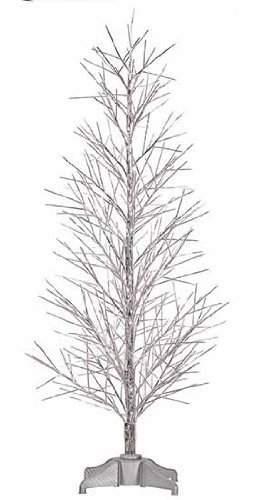 Vickerman Pre-Lit Battery Operated Silver Fiber Optic Christmas Twig Tree with Multicolored, 2' by Vickerman (Fibre Optic 2ft Christmas Tree)