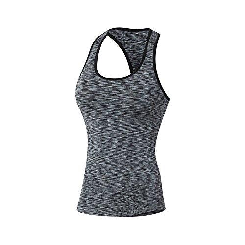 exiu mujeres deportes Yoga camiseta chaleco T entrenamiento gimnasio sin mangas camiseta de tirantes negro