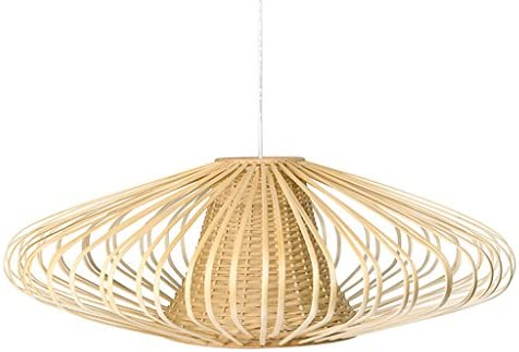 KOUBOO 1050077 Handwoven Bamboori Discus Pendant Lamp, 18 x 18 x 15 , Natural Brown