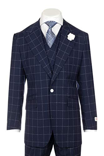 (Tiglio New Rosso Navy with White Windowpane Wide Leg Pure Wool Suit & Vest Rosso RG8878F/488/4)