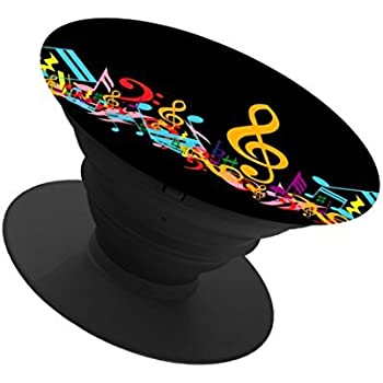 durable modeling Expanding Stand and Grip for Smart phones and Tablets,pop Multi-function Mounts and Mount cellular phone Holder socket Collapsible-Black-music notes as a heart