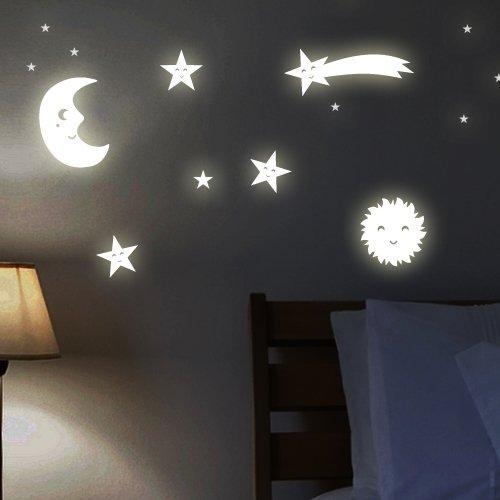 Wandkings WK-10977 Sonne, Mond und Sterne Wandsticker, 161 Sticker für Sternenhimmel, Fluoreszierend und im Dunkeln leuchtend