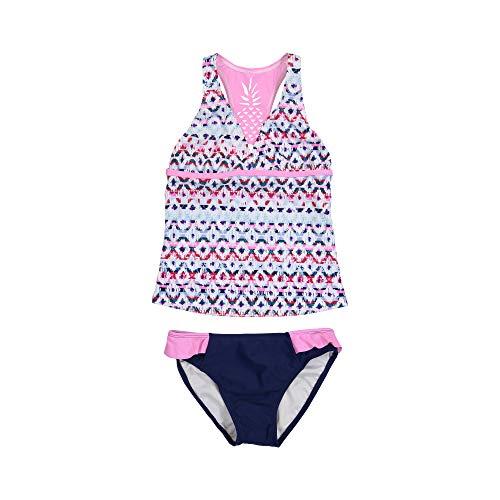 (Tommy Bahama Baby Girls 2-Piece Tankini Swimsuit Bathing Suit Bikini, Fuchsia Navy Multi, 12 Months)