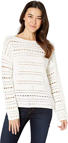 - Two by Vince Camuto Women's Long Sleeve Open Stitch Cotton Sweater Pearl Ivory Medium