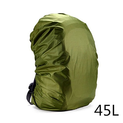 Outdoor Hiking Dust Rain Cover Portable Waterproof Backpack Anti-Theft Rain Bag Cover Army Green1 by DWEFVS