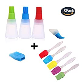 Set of 8 Silicone BBQ Basting Brush and Sauce and Oil Bottle Sets,Pastry,Turkey Baster Oil Brush,Heat Resistant For Kitchen Cooking Grilling, Dishwasher Safe,Easy Clean Kitchen Tools Barbecue 141 1.Great kitchen and Barbecue tools: The package including 3pcs silicone sauce bottle and 5pcs different color silicone brush. Size of sauce bottle: 4.4 inch*1.9 inch, brush head size: 1.7 inch*0.9inch Size of brush: 6.6inch*1.2inch, brush head size: 1.2inch*2inch 2.BAP Free,FDA Approved,100% Food Grade silicone Material For Food Save Use 3.PREVENT BACTERIA AND MOLD BUILD-UP: The silicone sauce bottle and brush will not stain or retain odors (great for vinegar, hot butter, egg whites, margarine, oil, basting sauce). The heads prevent bacteria and mold build up and are removable for easy cleaning by hand or in the dishwasher.