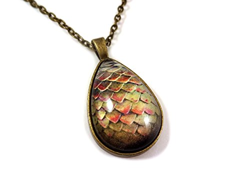 Light Green Red Dragon Egg Necklace Teardrop Antique Bronze Pendant Charm with Matching Link Chain