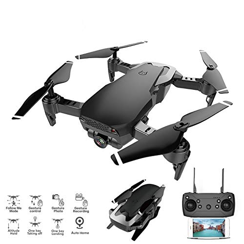 WHWYY Foldable Drone with 1080P Camera Live Video 2.4G 6-Axis RC Quadcopter with Foldable Arms Follow Me Mode Headless Mode Altitude Hold One Key Take Off and Landing Easy to Operate for Beginners