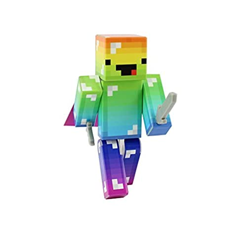Derpy Rainbow Guy Action Figure Toy, 4 Inch Custom Series Figurines by EnderToys (Mini Mine Craft Characters)