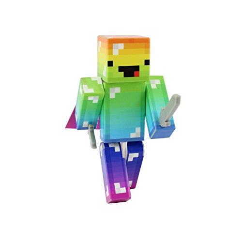 [Derpy Rainbow Guy Action Figure Toy, 4 Inch Custom Series Figurines by EnderToys] (Skeleton Minecraft Costume)
