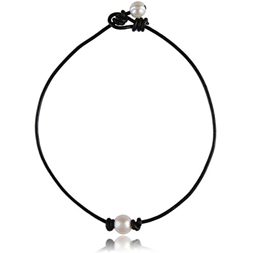 Barch Single Pearl Choker Necklace on Genuine Black Leather Cord for Women Handmade Choker Jewelry Gift (15 Black leather)