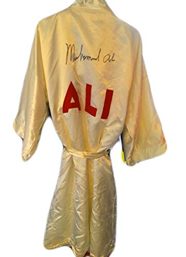 (Muhammad Ali Autographed Custom Made White Movie Boxing Robe Signed in Black)