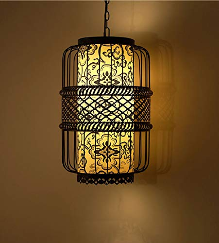 (DECORATZ LED Chinese Style Pendant Lamp Cage,Black Wrought Iron Lampshade Creative Antique Chandelier Fixture for Hallway Aisle Restaurant-classicStyleD30H50CM)